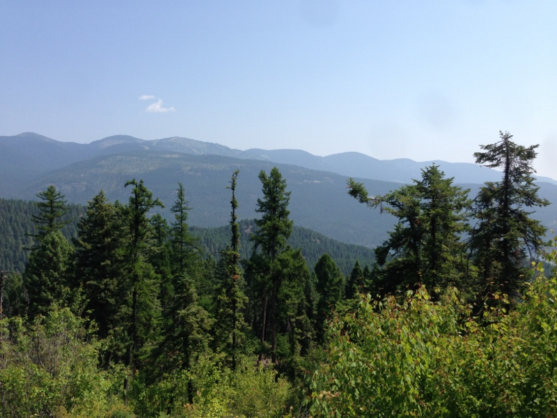 Smoky view of Whitefish Mountain Resort from Woods Lake Overlook